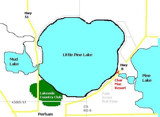 Map of Little Pine Lake and Char Mac Resort